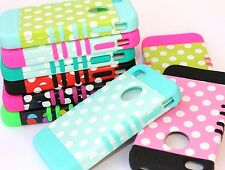 iPhone 4 4S - Hard & Soft Rubber Hybrid Armor High Impact Case Cover POLKA DOTS