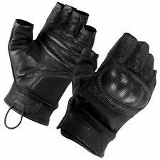 SecPro Superior Service Hard Knuckle Tactical Fingerless Gloves Black Nomex IIIA