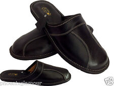 New Mens Leather Slippers BLACK Shoes Size 7 8 9 10 11 12 13 Luxury Flip-Flop
