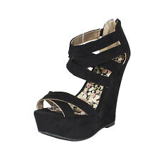 Finder-228! Qupid Women Strappy Platform Wedge with Back Zipper Black Faux Suede