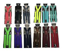12 Colors Sexy Mens Womens Clip-on Suspenders Elastic Y-Shape Adjustable Braces
