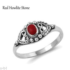 Unique Howlite Red Stone Double Heart Genuine Sterling Silver Ring , Size 3 - 12