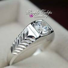 18K White Gold GP SWAROVSKI Created Diamond Men's Ring W/ chevron side pattern