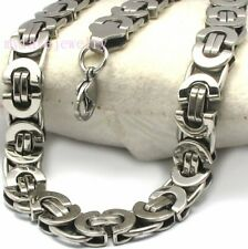Mens Boys 11mm Stainless Steel Flat Byzantine Box Chain Necklace