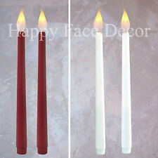 6 LED TAPER CANDLES 11in WHITE or BURGUNDY Flickering Flame 400hr Wedding PARTY