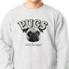 Pugs Not Drugs Funny Anti Drug T-shirt Dogs Pet Lovers Crew Neck Sweathirt