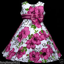 Easter X'mas UsaG gi Party w577 Casual Birthday Magenta White Girls Dress 3-13y