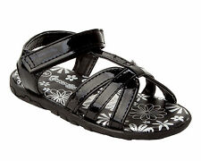 NEW GIRLS BLACK STRAPPY SUMMER BEACH HOLIDAY SANDALS INFANT UK SIZE 4-10