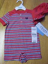 NWT Chaps by Ralph Lauren Red Stripe 2 pc Shortall Romper & Hat NB 3 mo 6 months