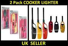 2 x REFILLABLE LONG NOZZLE GAS FIRE FLAME COOKER LIGHTER KITCHEN HOB BBQ CAMPING