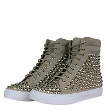Jeffrey Campbell Alva Womens Hi Top Trainers Beige/Silver