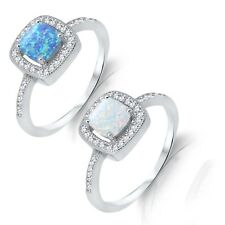 Princess Cut Promise / Engagement / Fire Opal Sterling Silver Ring Size 3 - 12