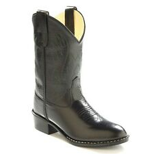 Old West Kids Boys Leather Western Cowboy Boots - Black Size9 10 11 12 13 1 2 3