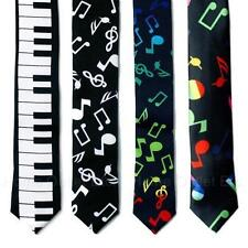 "1.5"" Music Theme Skinny Neck Tie Slim Narrow Novelty Casual Musical Notes Keys"