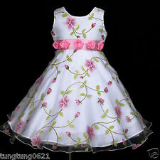 UsaG w779 Easter Halloween Dance X'mas White Party Pink Flower Girls Dress 2-12y