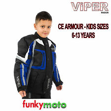 VIPER KIDS MOTORBIKE JACKET BLACK BLUE CE ARMOUR TEXTILE CHILD YOUTH MOTORCYCLE