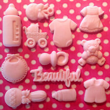 Edible BABY SHOWER CHRISTENING Ready Made Decoration Fondant Cupcakes Toppers