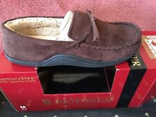 Men's Totes Isotoner Brown Boater Moccasin  Microsuede Slipper Memorstep  NEW