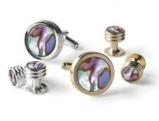 Abalone in V-Etched Setting Choose Silver or Gold Plated Cufflinks and Studs