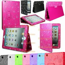 Leather Flip Diamond Bling Sparkly Stand Case Cover For Various Tablets & Mobile