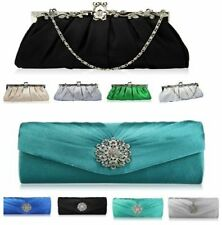 Ladies Evening Satin Crystal Clutch Bag Wedding Prom Party In Styles & Colours