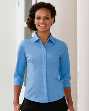 Russell Collection Ladies 3/4 Sleeve Polycotton Fitted Poplin Shirt Work 926F