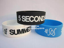 "1x Five 5 SECONDS OF SUMMER 5sos 1"" Wide Silicone 3 Colours Wristband Bracelet"
