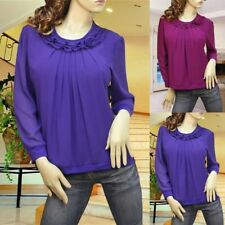 Purple Magenta ruffle pleated blouse top shirt #1875 Size L XL XXL