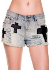 SEXY BLACK FAUX LEATHER CROSS PATCH 90's ROCK GOTH FESTIVAL CUT OFF JEAN SHORTS