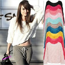 Ladies Lace Rose Floral 3D Mesh Lace Rose Floral Long Sleeve Jumper Top Sweater