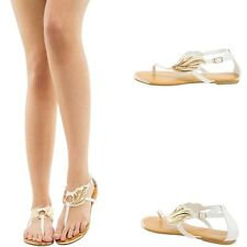 PURE WHITE OPEN TOE THONG T STRAP GOLD WING EMBELLISHED GLADIATOR FLAT SANDAL US