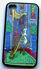 pit bull terrier dog harp art rubber fitted case for i phone 5 iphone 4 4s gift