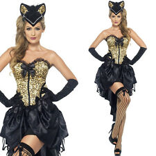 Adult Sexy Burlesque Can Can Kitty Ladies Fancy Dress Hen Party Costume Outfit