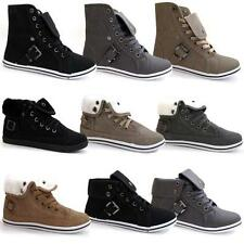LADIES ANKLE BOOTS GIRLS WOMENS HI HIGH TOPS TRAINERS SPORTS FLAT SHOES SIZE
