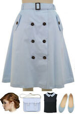 Vintage Inspired BABY BLUE Full & Flirty A-LINE Trench Skirt with BUTTONS & Belt