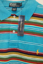 Polo Ralph Lauren Turquoise Red Striped Textured Mesh Shirt  $95 Yellow Pony NWT