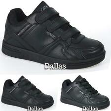 Boys Black School Shoes Kids Girls Velcro Skate Trainers Back To School Size 9-4