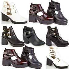 Womens Ladies Chunky Block High Heel Shoes New Cut Out Ankle Chelsea Boots Shoes