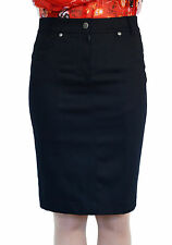 New Casual Knee Length straight Pencil Black Jeans Skirt UK 8 10 12 14 16 18 20
