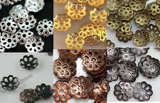 500x vintage silver/golden/black/copper/bronze color metal flower bead caps 6mm