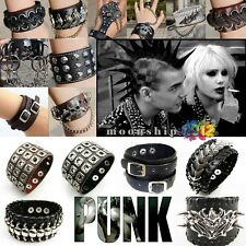 Black Bracelet Bangle Wristband Rings Punk Skull Head Gothic Leather Rivet Chain