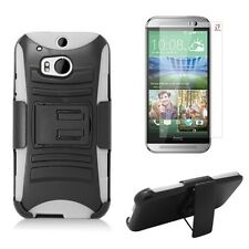 HTC One M8 Heavy Duty Duty Holster Kickstand Armor Case + Screen Protector Combo