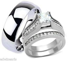 HIS HERS 3 PIECE STAINLESS STEEL & TITANIUM WEDDING ENGAGEMENT RING BAND SET