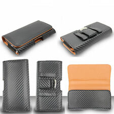 Carbon Leather Pouch Case for Nokia Phones Horizontal Belt Clip Holster Cover