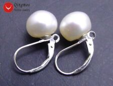 SALE Big 9-10MM White naural flat pearl earring with silve S925 leverback-ear370