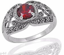 Royal Garnet Celtic Infinity Marcasite Round Sterling Silver Ring Size 3 - 12