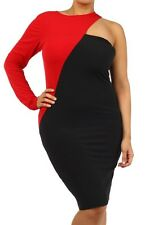 PLUS SIZE TWO-TONE COLOR BLOCK CUT OUT ONE SHOULDER SLEEVE BODYCON MIDI DRESS