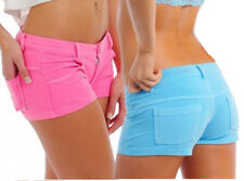 Sexy Low Rise Booty Hot Shorts Faux Jean Stretch Cotton Pockets Pink Blue + PHS