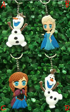 Hot Cartoon Frozen Elsa Anna and Olaf 8cm Double Faced Rubber Keychain Keyring