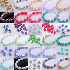 50pcs Glass Crystal Faceted Teardrop Loose Finding Spacer Beads 10x15mm 45Color